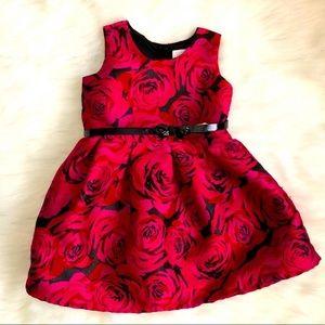 Spring summer floral dress with belt for 3T